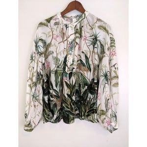 H&M Tropical Floral with Long Bishop Sleeves Top